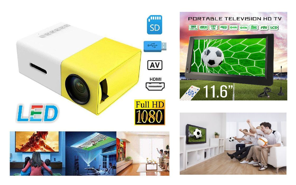 Portable HDMI Projector for iPhone, Android, Samsung, Portable Tevelision, DTV, Digital TV